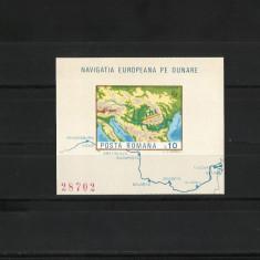 Romania MNH 1977 - colita nedantelata - Navigatia europeana pe Dunare - LP 950 - Timbre Romania, Nestampilat