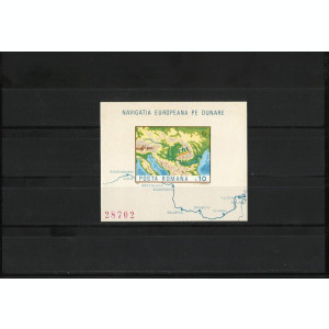 Romania MNH 1977 - colita nedantelata - Navigatia europeana pe Dunare - LP 950