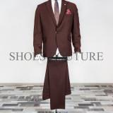 Costum Elegant Barbati, Slim Fit (Culoare: Bordo, Marime Costum: 52) - Costum barbati