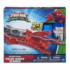 Jucarie Manusa Spiderman cu Lansator panza colorata Color Shock Slinger 2 in 1 B5869 Hasbro - Roboti de jucarie