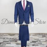 Costum elegant, carouri, barbati, Slim Fit (Culoare: Bluemarin, Marime Costum: 50) - Costum barbati