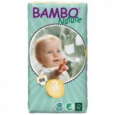 Scutece Bambo Nature Midi, Nr. 3, 5-9 kg, pachet 66 buc.