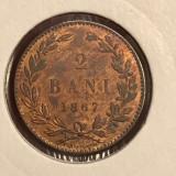 2 bani 1867 H UNC luciu de batere