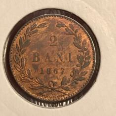 2 bani 1867 H UNC luciu de batere - Moneda Romania