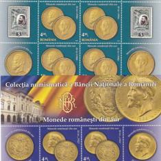 MONEDE ROMANESTI DIN AUR, COLECTIA BNR, 2013, MINISHEET, MNH, NEOBLITERAT, ROMANIA. - Timbre Romania, Arta, Nestampilat