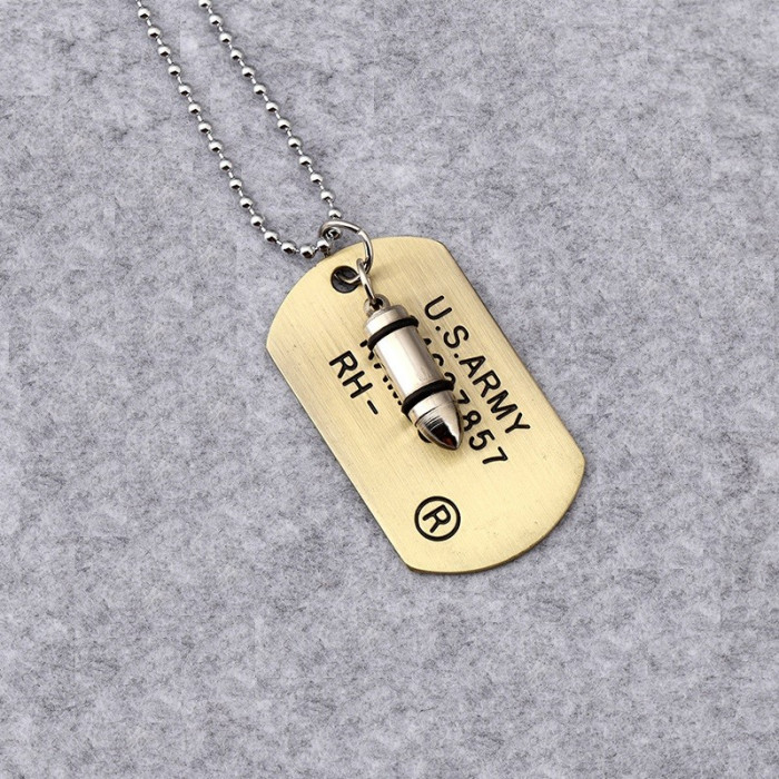 Lant Lantisor Lantisoare Medalion Dog Tag + Glont militar placute identificare