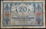 Bancnota 20 Marci - GERMANIA/ BERLIN, anul 1918 *cod 198 B --- MAI RARA!
