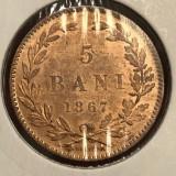 5 bani 1867 H UNC luciu de batere