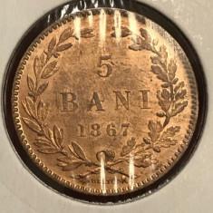 5 bani 1867 H UNC luciu de batere - Moneda Romania