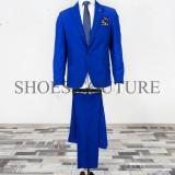 Costum Elegant Barbati, Slim Fit (Culoare: Albastru, Marime Costum: 44) - Costum barbati