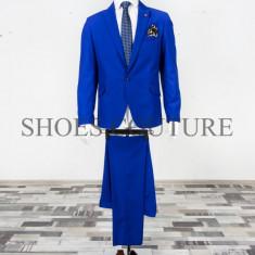 Costum Elegant Barbati , Slim Fit (Culoare: Albastru, Marime Costum: 44)