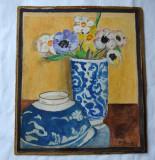 Natura moarta vas cu flori, Natura statica, Acuarela, Realism
