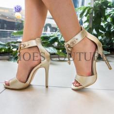 Sandale dama, pietricele, toc inalt, aurii, Ucu Dima (Culoare: Auriu, Inaltime toc (cm): 11, Marime Incaltaminte: 36)