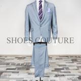 Costum Elegant Barbati, Slim Fit (Culoare: Gri, Marime Costum: 52) - Costum barbati