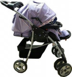 Cărucior nou nascut 2 in 1 Baby Care M 203-mov cu fluturași, Baby Care
