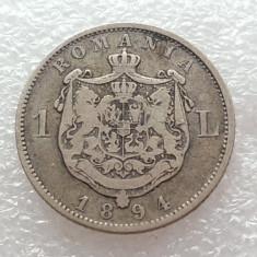 1 LEU 1894-ARGINT-CAROL I REGE - Moneda Romania