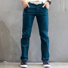 Pantaloni din bumbac, calitate superioara, pantaloni albastri casual - Pantaloni barbati, Marime: L/XL, Culoare: Albastru, Lungi