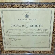 DIPLOMA DE INCETATENIRE   ANUL 1934