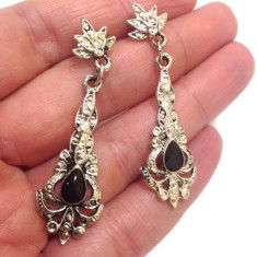 REDUCERE-Cercei lungi negri- placati cu argint TIBETAN VINTAGE ol-vintage type
