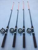 Set 4 lansete cu 4 mulinete pentru pescuit la copca #
