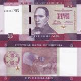 LIBERIA 5 dollars 2016 UNC!!!