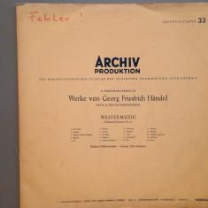 HANDEL - WATER MUSIC : Berliner Philharmoniker (1958/ARCHIV/RFG) -disc/rar/VINIL - Muzica Clasica decca classics