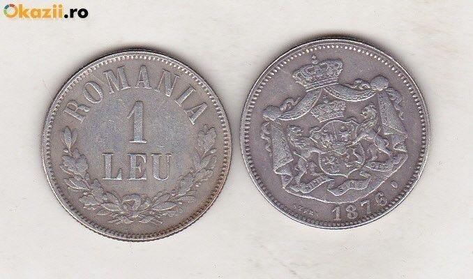 bnk mnd Romania - 1 Leu 1876 - REPLICA - alama argintata