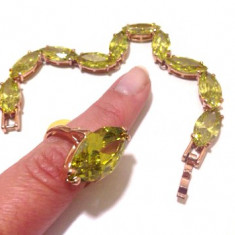 SET bijuterii dama( bratara + inel) -PLACAT AUR 18K -Swarovski- vintage