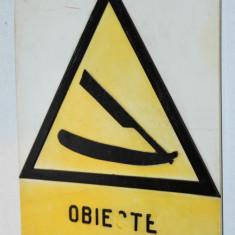 Placuta comunista Protectia Muncii / Frizerie / Macelarie, Sticlarie, Barber Shop