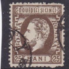 ROMANIA 1872 LP 37 CAROL I CU BARBA VALOAREA 25 BANI SEPIA STAMPILAT - Timbre Romania