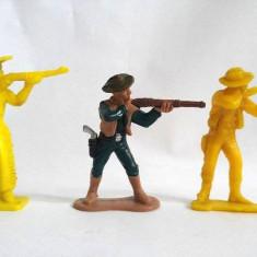 Lot 3 figurine cowboy vechi, vintage, diorama, colectie,