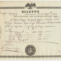 Romania Valahia 1844 Bilet grec Export Produse document corabie fara filigran, Romania pana la 1900, Documente