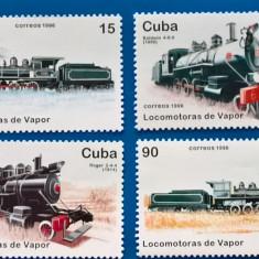 CUBA-.Trenuri-Lcomotive cu abur-Serie-Nestamp-.-mnh - Timbre straine, Stampilat