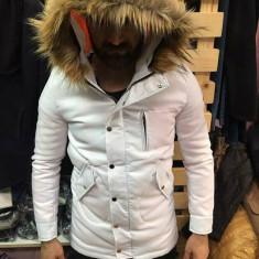 Geaca groasa de iarna alba barbati de fas cu blana slimfit casual