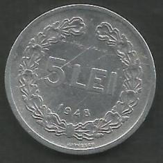 ROMANIA RPR 5 LEI 1948 [2] livrare in cartonas - Moneda Romania, Aluminiu