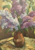 Tablou - ulei pe carton mucava – semnat  Vavilyna, Flori, Altul