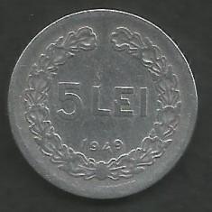 ROMANIA RPR 5 LEI 1949 [5] livrare in cartonas - Moneda Romania, Aluminiu