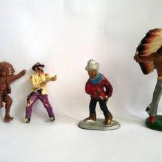 lot 4 figurine vechi, vintage indieni mixt, diorama, colectie,