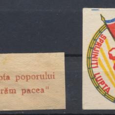 ROMANIA 1950-52 doua etichete propaganda comunista pt sprijinire Coreea de Nord - Timbre Romania, An: 1951, Oameni, Nestampilat