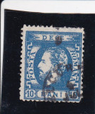 ROMANIA 1872 LP 36  CAROL I CU BARBA  10 BANI  ALBASTRU DANTELAT POINCON STAMP., Stampilat