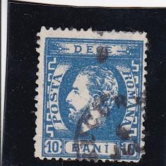 ROMANIA 1872 LP 36 CAROL I CU BARBA 10 BANI ALBASTRU DANTELAT POINCON STAMP. - Timbre Romania, Stampilat