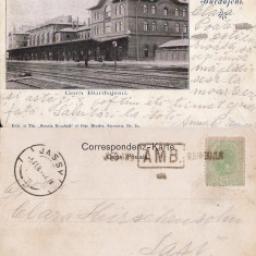 Gara Burdujeni (Bucovina, Suceava )- clasica, stampila ambulanta, rara - Carte Postala Bucovina pana la 1904, Circulata, Printata