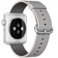 Curea pentru Apple Watch 38 mm iUni Woven Strap, Nylon, White Gray - Curea ceas cauciuc