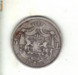 Bnk mnd Romania 5 lei 1885 ,  argint