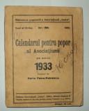 Calendarul pentru popor al Asociatiunii pe anul 1933 ASTRA - ARE 7 FILE LIPSA, Alta editura