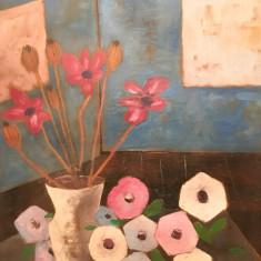 Tablou - ulei pe panza –semnat Piliuta C - Pictor roman, Flori, Altul