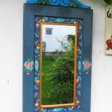 Oglinda cu rama pictata manual-bleu-gri
