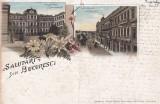 SALUTARI DIN BUCURESTI  LITOGRAFIE MINISTERUL DE FINANTE   CIRCULATA  1896