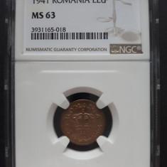 1 leu 1941 UNC NGC MS 63 EROARE - Moneda Romania
