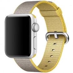 Curea pentru Apple Watch 38 mm iUni Woven Strap, Nylon, Yellow-Gray - Curea ceas cauciuc